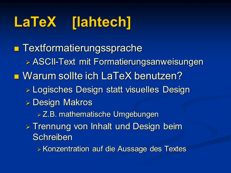 LaTeX [lahtech] Textformatierungssprache